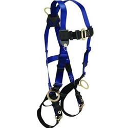 FallTech 7018 Contractor Full Body Harness with 3 D-Rings and Tongue Buckle Leg Straps, Universal Fit